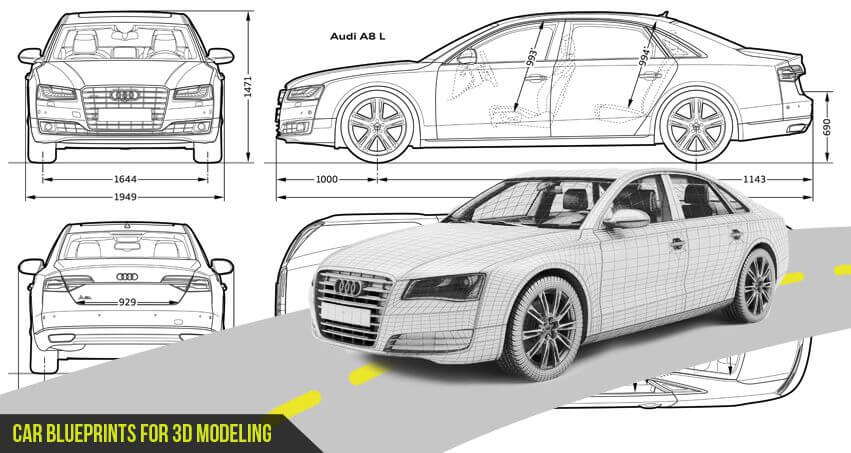 Car Blueprints for 3D Modeling