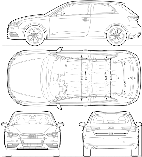Download Car Blueprint of Audi-A3