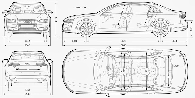 Download Car Blueprint of Audi-A8L