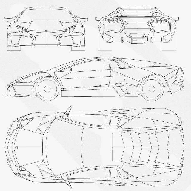 Download Car Blueprint of Lamborghini Reventon