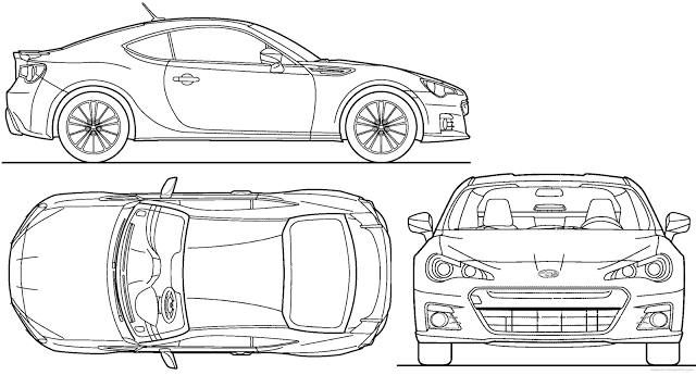 Download Car Blueprint of Subaru-BRZ