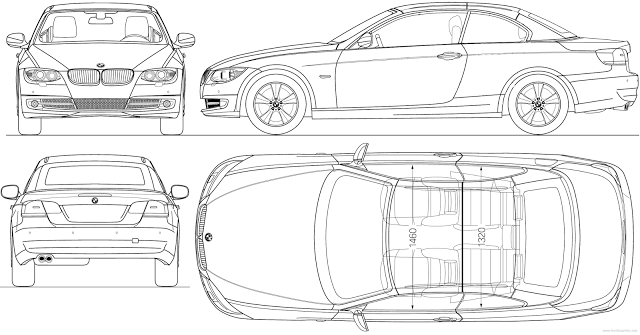 Download Car Blueprint of BMW 3 Series Convertible