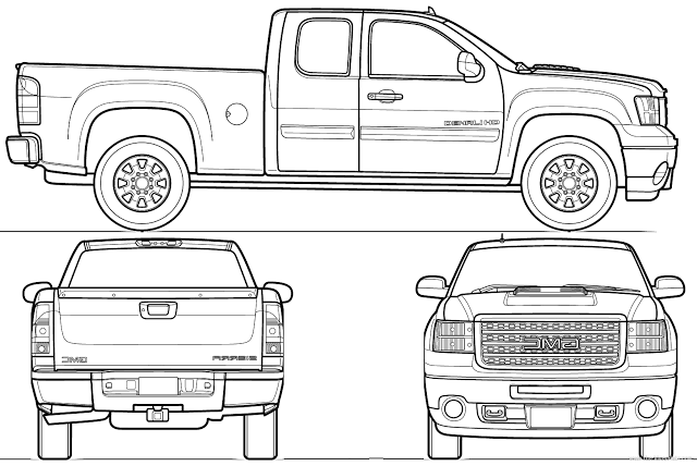 Download Car Blueprint of GMC Sierra Denali
