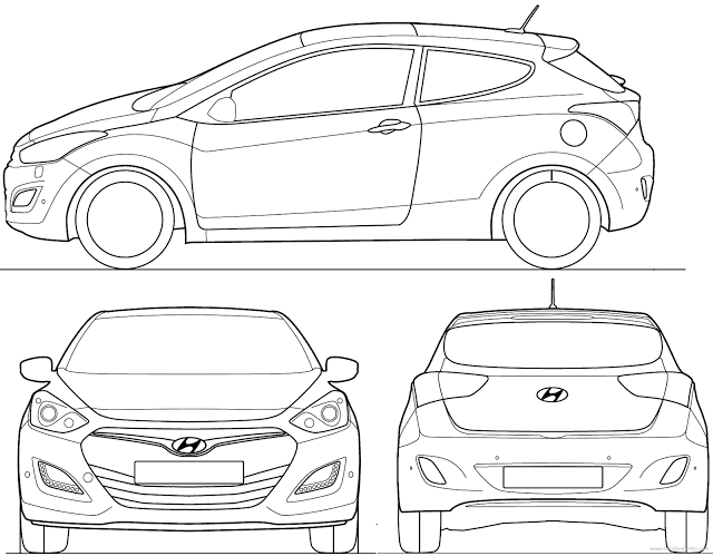 Download Car Blueprint of Hyundai i30 Coupe
