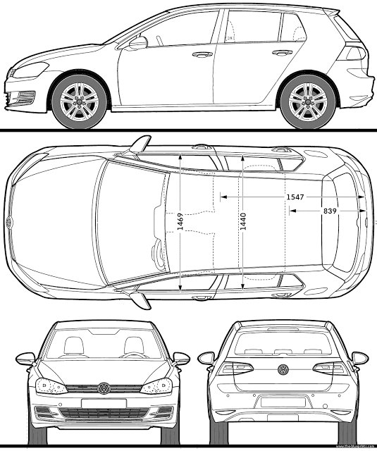 Download Car Blueprint of Volkswagen Golf-5