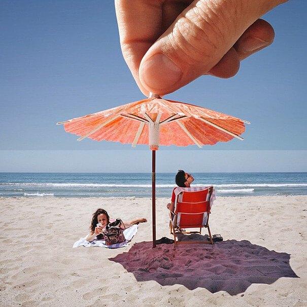 Drink Umbrella + Beach Umbrella Photo Mash by Stephen Mcmennamy