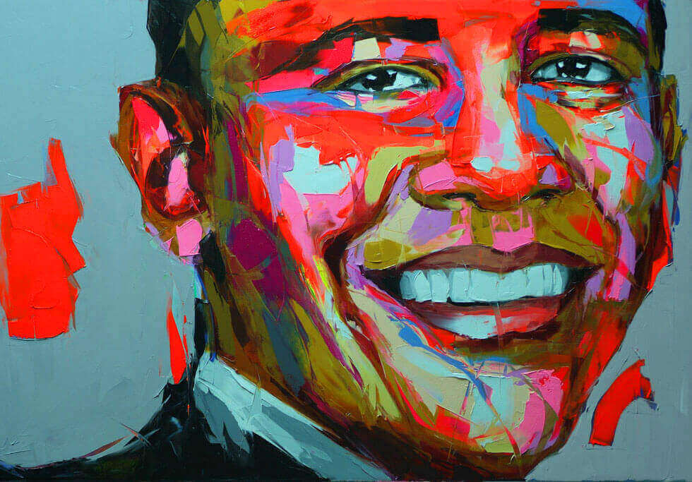 Barak Obama vibrant knife Paintings by Francoise Nielly