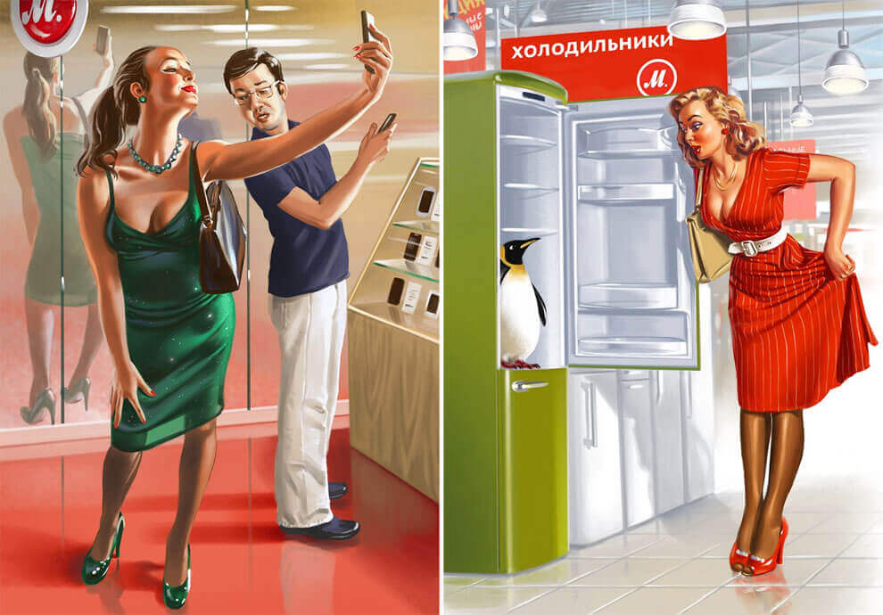 Pin-Up Style Illustration By Valery Barykin