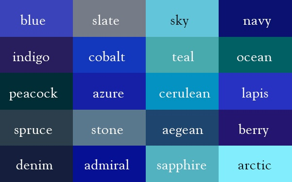 Color Thesaurus / Correct Names of Color Shades of Blue