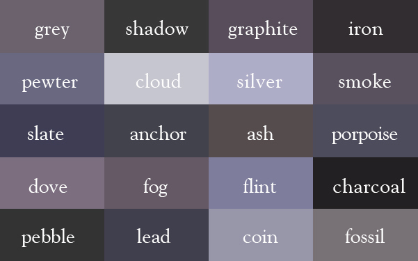 Color Thesaurus / Correct Names of Color Shades of Grey