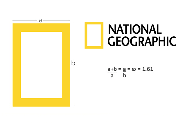 The National Geographic logo with Golden Ratio