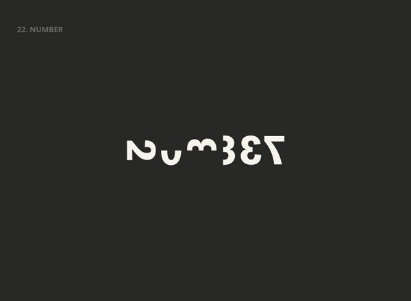 NUMBER - Best Clever Logos of Common Words in English Nouns