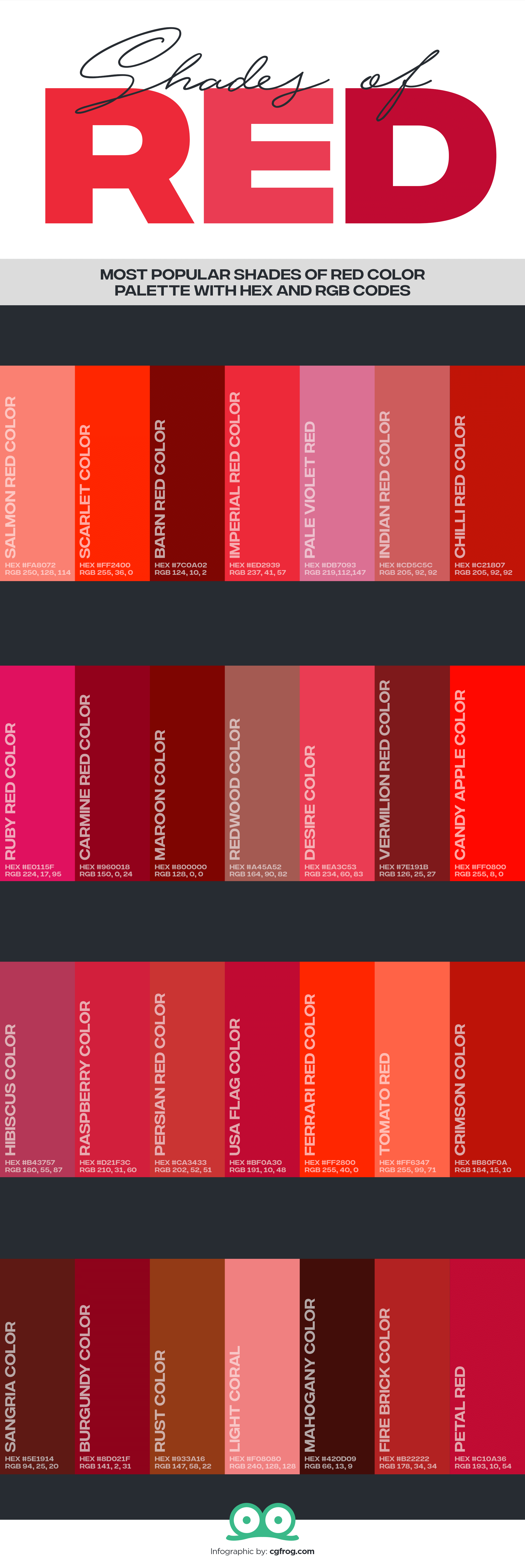 Popular Shades of Red Color Palette with Hex and RGB Codes